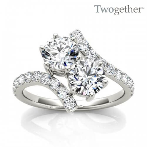 pave tone engagement two split rings ring diamond set wedding shank