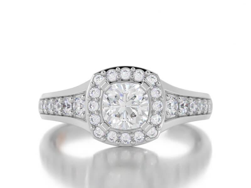Cushion Cut Round Diamond Halo Semi Mount Ring